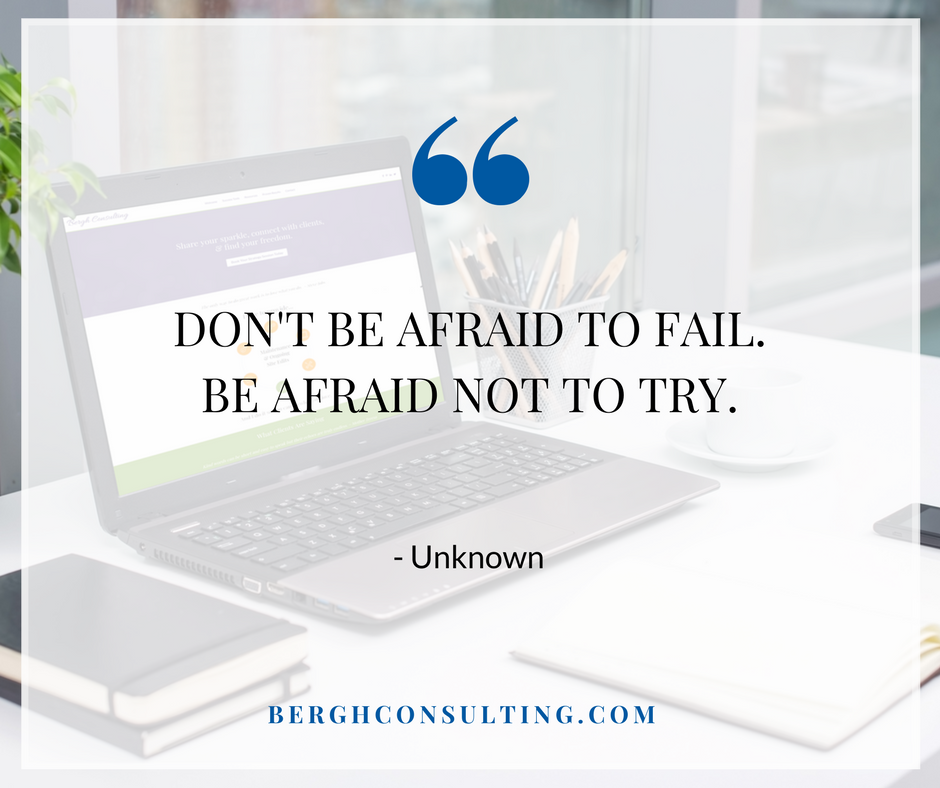 Don't Be Afraid to Fail Business Motivation with Bergh Consulting
