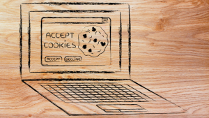 "laptop drawing with ""computer cookies"" on the monitor"